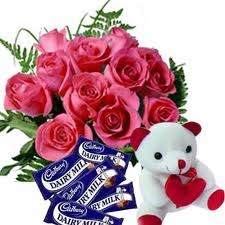 6 roses teddy and 4 chocolates