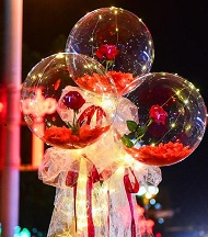 3 Red rose in 3 transparent balloon red white wrapping arrangement Only for Pune and Mumbai