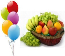 5 air filled balloons 2 Kg fresh fruits basket