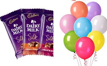 10 air blown balloons with 3 silk chocolate bars
