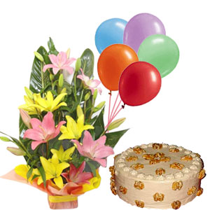 Lilies arrangement and Butter scotch cake with balloons