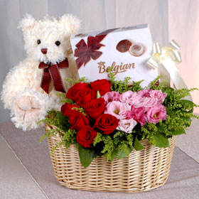 Chocolates, Roses flowers basket, Teddy