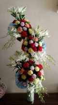 2 Feet arrangement of White Lily coloured Carnations and rajnigandha