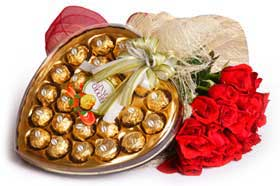 6 red roses bouquet Heart shaped chocolate box not ferrero