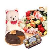 36 red roses, teddy, 1/2 kg cake,16 pc chocolates