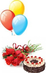 3 Gas Filled Balloons 6 Red roses 1/2 Kg BlackForest cake