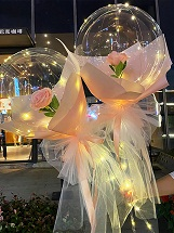 2 Pink rose in 2 transparent balloon arrangement with fairy light White wrapping Only for Pune and Mumbai