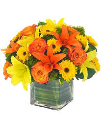 Yellow and orange lilies basket