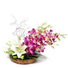 10 Orchids and 4 lilies arrangement