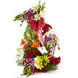 Large Arrangement-3 to 4 feet- of White and yellow lilies Red gerberas