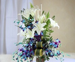 2 Feet Blue orchids White lilies and curled  draceana leaves