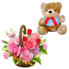 Teddy bear 6 inch with 12 pink roses basket